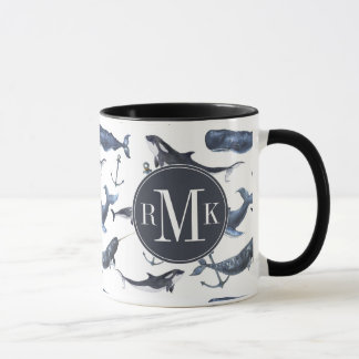 Watercolor Whale & Anchor Pattern Mug