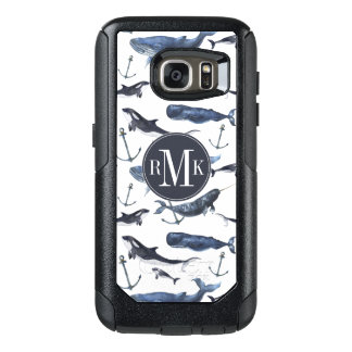 Watercolor Whale & Anchor Pattern OtterBox Samsung Galaxy S7 Case