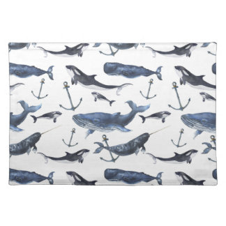 Watercolor Whale & Anchor Pattern Placemat