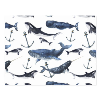 Watercolor Whale & Anchor Pattern Postcard