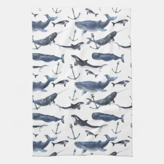 Watercolor Whale & Anchor Pattern Tea Towel