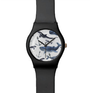 Watercolor Whale & Anchor Pattern Watch