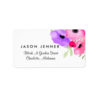 Watercolor Whimsical Floral Wedding Address Label