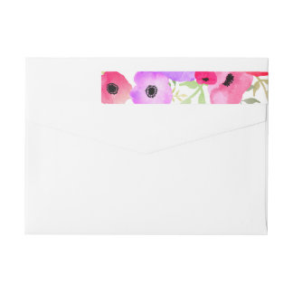 Watercolor Whimsical Floral Wedding Wrap Around Label