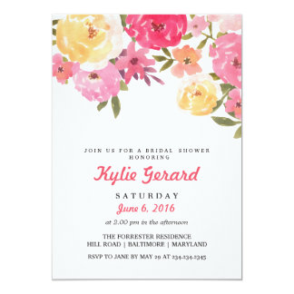 Watercolor Whimsical Flowers Bridal Shower 13 Cm X 18 Cm Invitation Card