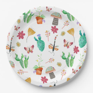 Watercolor Whimsical Nature Baby Shower Paper Plate