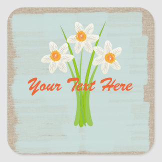 Watercolor White Daffodils Gardener Florist Square Sticker