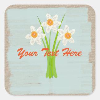 Watercolor White Daffodils Gardener Florist Square Sticker