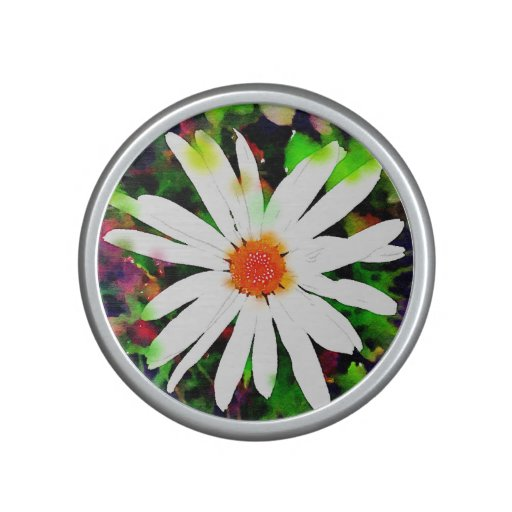 Watercolor White Daisy Bluetooth Speaker