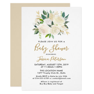 Watercolor White Flowers Baby Shower Invitations