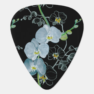 Watercolor White Orchids Pattern Guitar Pick