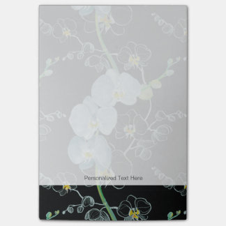 Watercolor White Orchids Pattern Post-it Notes
