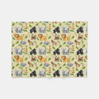 Watercolor Wild Animal Safari Jungle Pattern Fleece Blanket