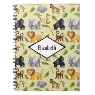 Watercolor Wild Animal Safari Jungle Pattern Notebooks