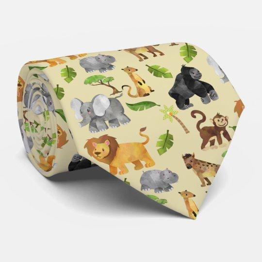 Watercolor Wild Animal Safari Jungle Pattern Tie