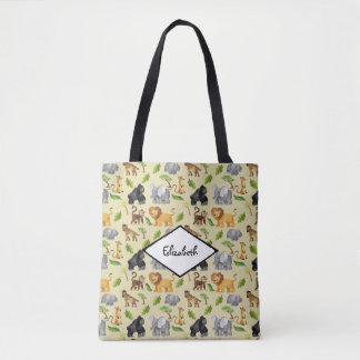 Watercolor Wild Animal Safari Jungle Pattern Tote Bag