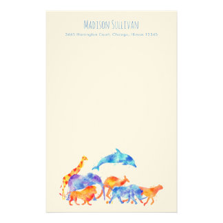 Watercolor Wild Animals Running Together Stationery