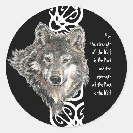 Watercolor Wild Gray, Grey Wolf Head Family Quote Sticker