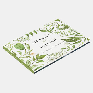 Watercolor Wild Green Foliage Floral Photo Wedding Guest Book