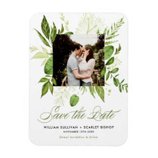 Watercolor Wild Green Foliage Photo Save the Date Magnet