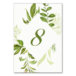 Watercolor Wild Green Foliage Table Number 8 Card Table Card
