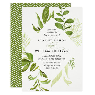 Watercolor Wild Green Foliage Wedding Invitation