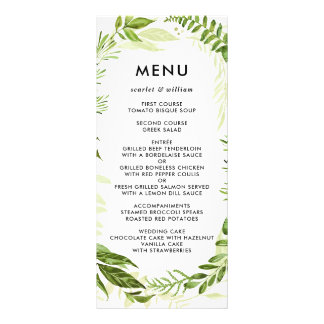 Watercolor Wild Green Foliage Wedding Menu Card
