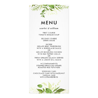 Watercolor Wild Green Foliage Wedding Menu Card II