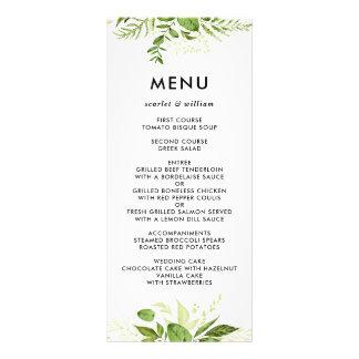 Watercolor Wild Green Foliage Wedding Menu Card II Full Color Rack Card