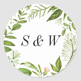 Watercolor Wild Green Foliage Wedding Monogram Classic Round Sticker