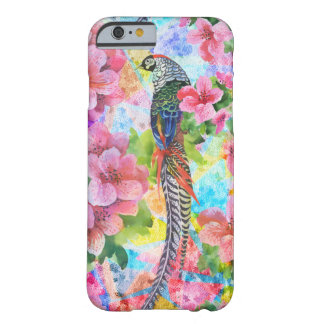 Watercolor Wild Pheasant With Exotic Flowers Barely There iPhone 6 Case