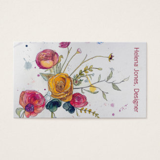Watercolor Wildflower and Peony Business Card