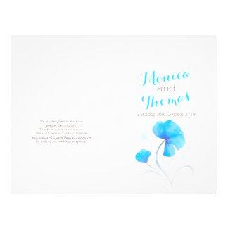 Watercolor wildflower blue large wedding program flyer