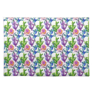 Watercolor Wildflower Cactus Pattern Placemat