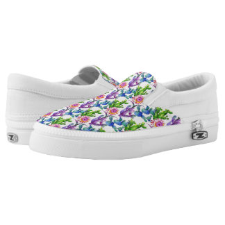 Watercolor Wildflower Cactus Pattern Slip-On Shoes