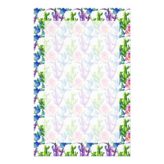 Watercolor Wildflower Cactus Pattern Stationery