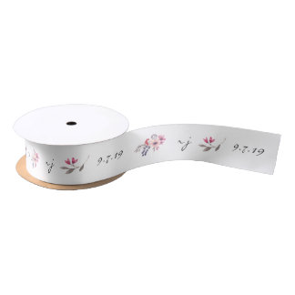 Watercolor Wildflower Customized Wedding Ribbon Satin Ribbon