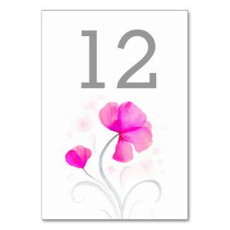 Watercolor wildflower pink wedding table number table cards