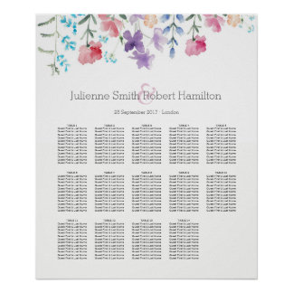 Watercolor Wildflowers Seating Chart 14 Tables
