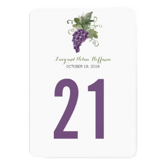 Watercolor Wine Vineyard | Table Number Card