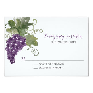 Watercolor Wine Vineyard | Wedding RSVP Card