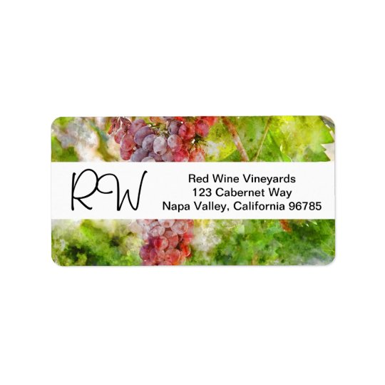 Watercolor Winery or Vineyard Wedding Address Label