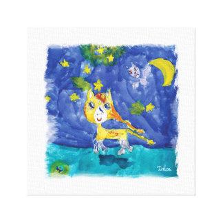 Watercolor Winged Night Unicorn Canvas Wall Art