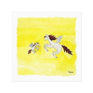 Watercolor Winged Pegasus Pony Canvas Wall Art