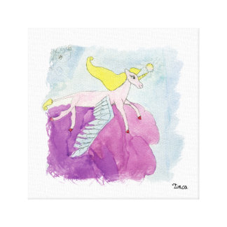 Watercolor Winged Unicorn Pony Canvas Wall Art