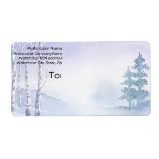 Watercolor Winter Birch Pine Trees Address Shipping Label