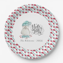 Watercolor Winter Bird Holly Jolly Christmas Party Paper Plate