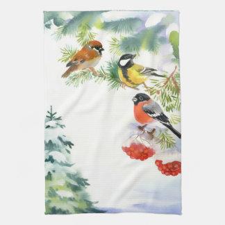 Watercolor Winter Birds Kitchen Towel