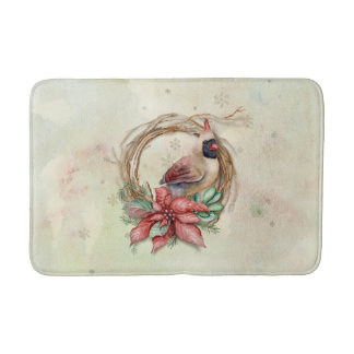 Watercolor Winter Cardinal Bath Mat