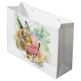 Watercolor Winter Forest Bunnies Large Gift Bag